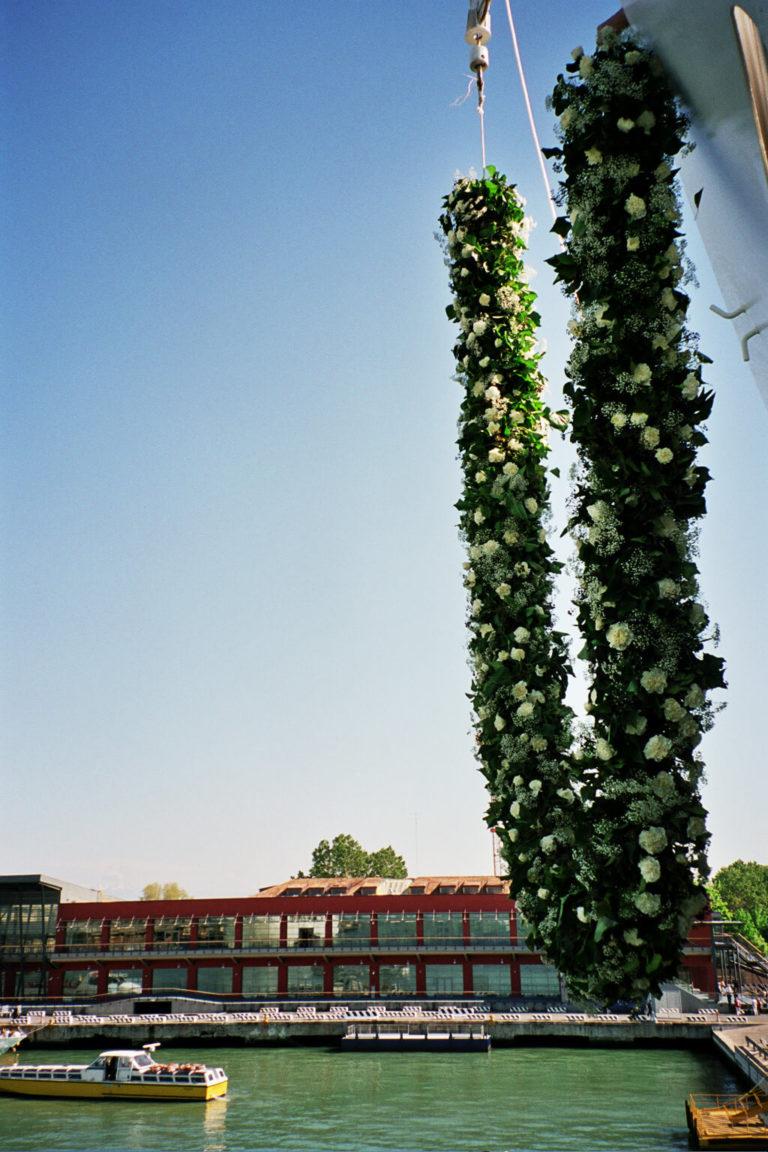 Hanging flower and greenery garland
